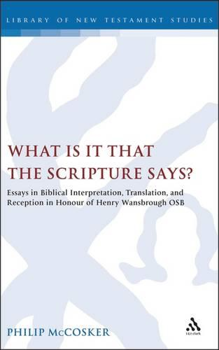 What is it That the Scripture Says?: Essays in Biblical Interpretation and Reception in Honour of Henry Wansbrough OSB - The Library of New Testament Studies (Hardback)