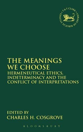 Meanings We Choose: Hermeneutical Ethics, Indeterminancy And The Conflict Of Interpretations (Hardback)