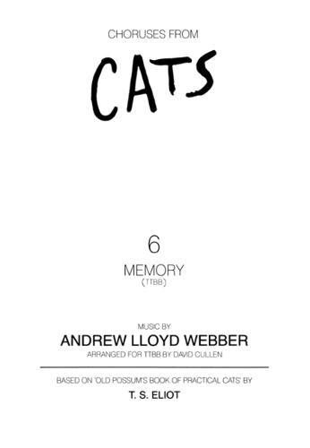 Memory (from Cats) (Male Voices and Piano) (Sheet music)