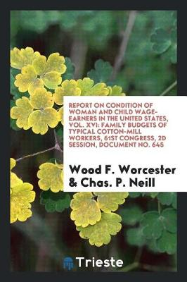 Report on Condition of Woman and Child Wage-Earners in the United States, Vol. XVI: Family Budgets of Typical Cotton-Mill Workers, 61st Congress, 2D Session, Document No. 645 (Paperback)