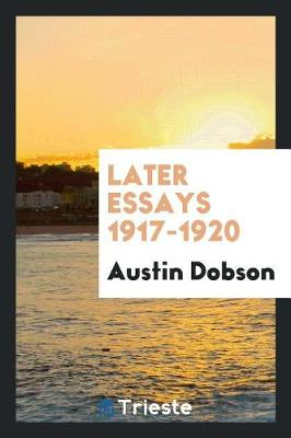 Later Essays 1917-1920 (Paperback)