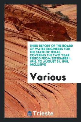 Third Report of the Board of Water Engineers for the State of Texas. Covering the Two Year Period from September 1, 1916, to August 31, 1918, Inclusive (Paperback)