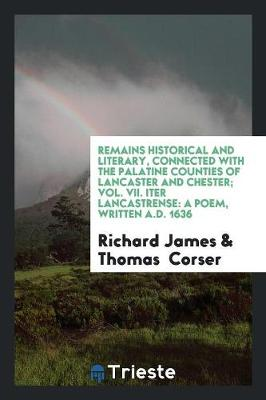 Remains Historical and Literary, Connected with the Palatine Counties of Lancaster and Chester; Vol. VII. Iter Lancastrense: A Poem, Written A.D. 1636 (Paperback)