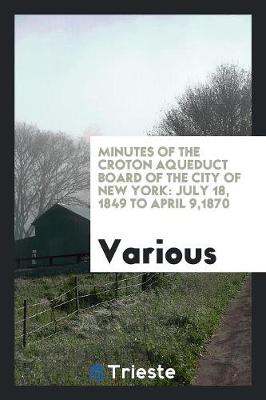 Minutes of the Croton Aqueduct Board of the City of New York: July 18, 1849 to April 9,1870 (Paperback)