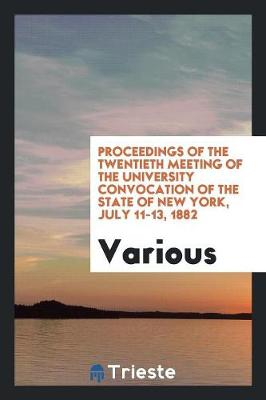 Proceedings of the Twentieth Meeting of the University Convocation of the State of New York, July 11-13, 1882 (Paperback)