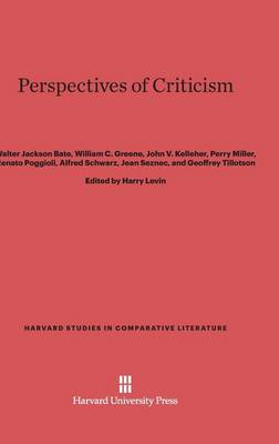 Perspectives of Criticism - Harvard Studies in Comparative Literature (Hardcover) 20 (Hardback)
