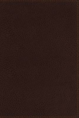 NKJV, End-of-Verse Reference Bible, Giant Print, Personal Size, Leathersoft, Brown, Indexed, Red Letter Edition (Leather / fine binding)
