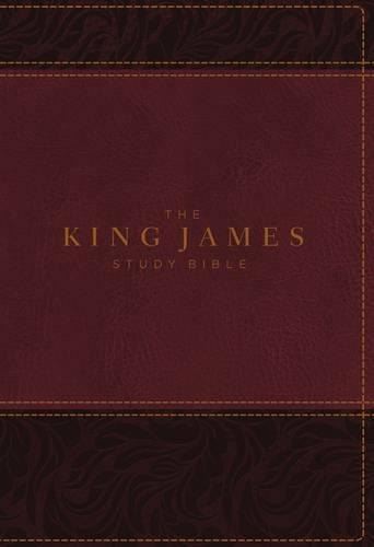 KJV, The King James Study Bible, Imitation Leather, Burgundy, Indexed, Full-Color Edition (Leather / fine binding)
