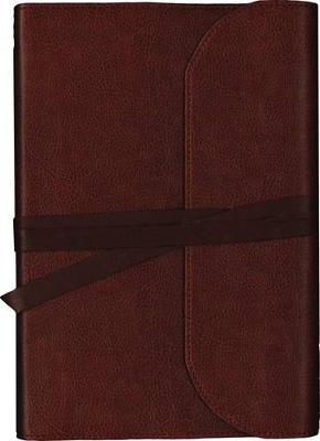NKJV, Journal the Word Bible, Large Print, Premium Leather, Brown, Red Letter Edition: Reflect on Your Favorite Verses (Leather / fine binding)