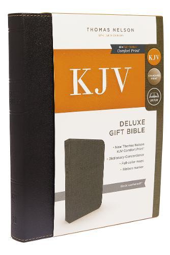 KJV, Deluxe Gift Bible, Imitation Leather, Black, Red Letter Edition, Comfort Print (Leather / fine binding)