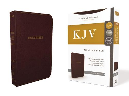 KJV, Thinline Bible, Standard Print, Leathersoft, Burgundy, Red Letter Edition, Comfort Print (Leather / fine binding)