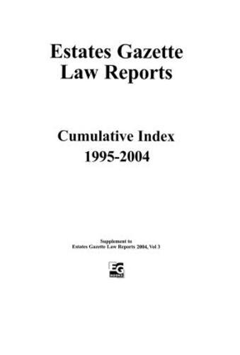 EGLR 2004 Cumulative Index - Estates Gazette Law Reports (Paperback)