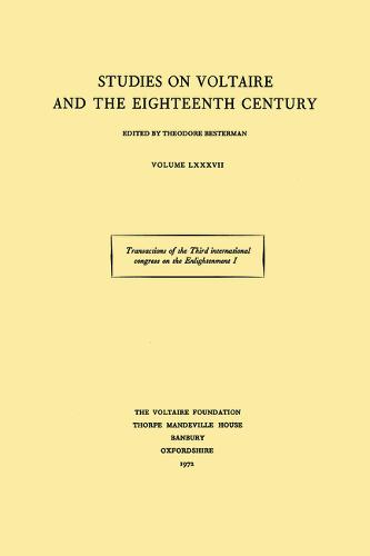 Transactions of the Third International Congress on the Enlightenment: Nancy 1971 - ST 87-90 (Paperback)