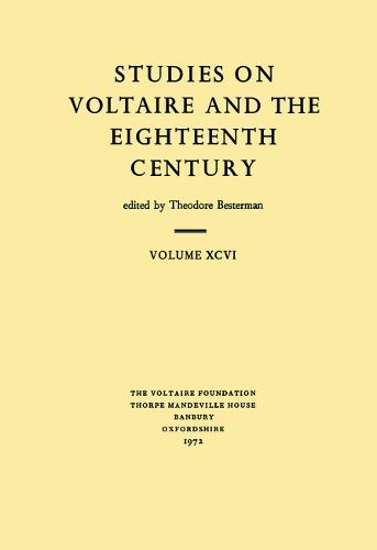 Voltaire Collectaneous 1972 - Studies on Voltaire v. 96 (Paperback)