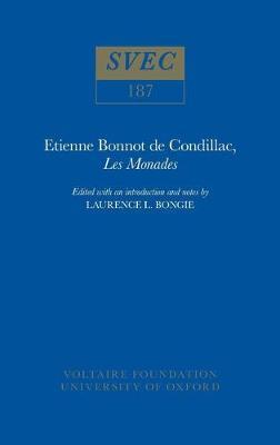 Etienne Bonnot de Condillac, 'Les Monades' 1980 - Oxford University Studies in the Enlightenment 187 (Hardback)