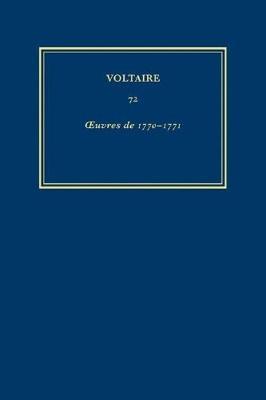 Oeuvres De 1770-1771 - Oeuvres Completes de Voltaire 72 (Hardback)