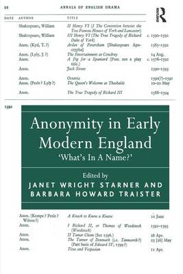 Anonymity in Early Modern England: 'What's In A Name?' (Hardback)