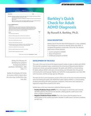 Barkley's Quick Check For Adult ADHD Diagnosis (Paperback)