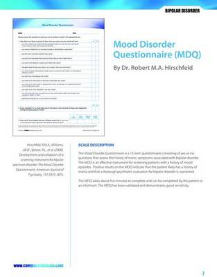 Mood Disorder Questionnaire (MDQ) (Paperback)