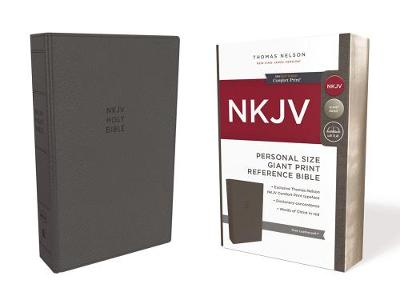 NKJV, Reference Bible, Personal Size Giant Print, Leathersoft, Gray, Red Letter Edition, Comfort Print: Holy Bible, New King James Version (Leather / fine binding)