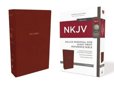 NKJV, Deluxe Reference Bible, Personal Size Giant Print, Leathersoft, Red, Red Letter Edition, Comfort Print (Leather / fine binding)