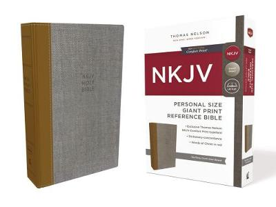 NKJV, Reference Bible, Personal Size Giant Print, Cloth over Board, Tan/Gray, Red Letter Edition, Comfort Print: Holy Bible, New King James Version (Hardback)