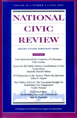 """""""National Civic Review"""": Jb Journal Volume 90 Number 3 Fall 2001 (Paperback)"""