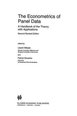 The Econometrics of Panel Data: A Handbook of the Theory with Applications - Advanced Studies in Theoretical and Applied Econometrics v. 33 (Hardback)