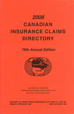 Canadian Insurance Claims Directory 2008 (Paperback)