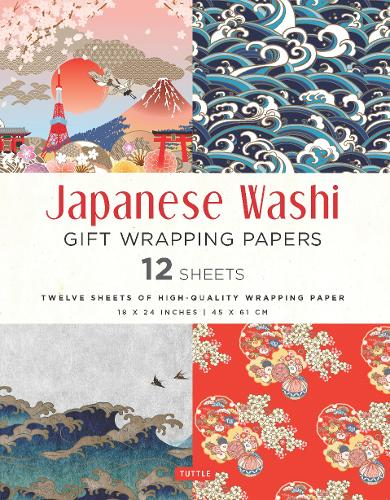 Japanese Washi Gift Wrapping Papers - 12 Sheets: High-Quality 18 x 24 inch (45 x 61 cm) Wrapping Paper (Paperback)