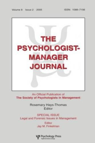 Legal And Forensic Isssues In Management Tpmj V8#2 (Paperback)