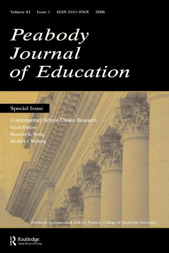 Contemporary School Choice Research Pje V81#1 (Paperback)