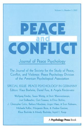 Peace Psychology in Germany: A Special Issue of Peace and Conflict (Paperback)