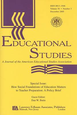 How Social Foundations of Education Matters ES: V 38-3 (Paperback)