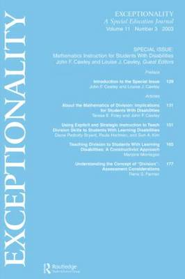 Mathematics Instruction for Students With Disabilities: A Special Issue of exceptionality (Paperback)