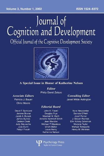 A Special Issue in Honor of Katherine Nelson: A Special Issue of journal of Cognition and Development (Paperback)