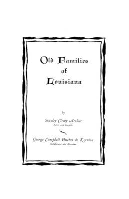 Old Families of Louisiana (Paperback)