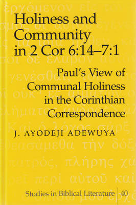 Holiness and Community in 2 Cor 6:14-7:1: Paul's View of Communal Holiness in the Corinthian Correspondence - Studies in Biblical Literature 40 (Hardback)