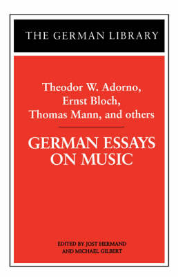 German Essays on Music - The German library Vol 43 (Paperback)