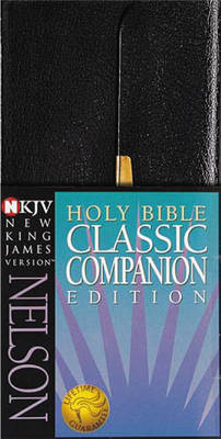 NKJV, Checkbook Bible, Compact, Bonded Leather, Black, Wallet Style, Red Letter Edition (Leather / fine binding)