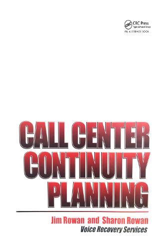 Call Center Continuity Planning (Hardback)