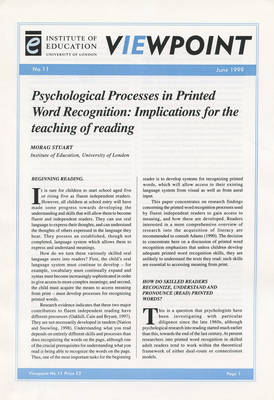 Psychological Processes in Printed Word Recognition: Implications for the teaching of reading - Viewpoint 11