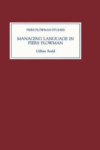 Managing Language in Piers Plowman - Piers Plowman Studies v. 9 (Hardback)
