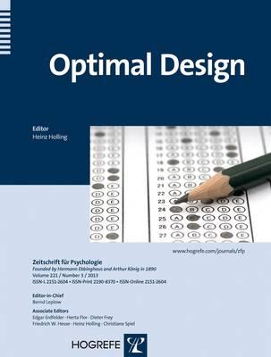 Optimal Design - Zeitschrift fuer Psychologie (Paperback)