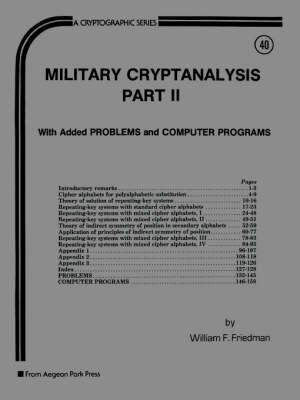 Military Cryptanalysis: Vol 2 (Paperback)