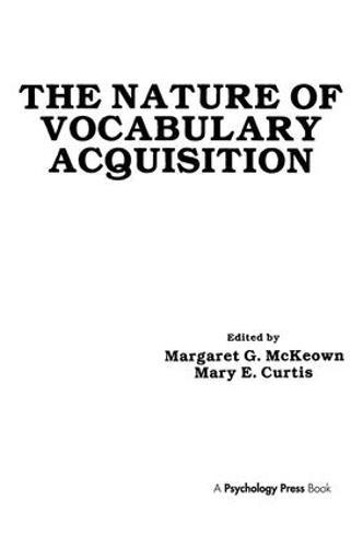 The Nature of Vocabulary Acquisition (Hardback)