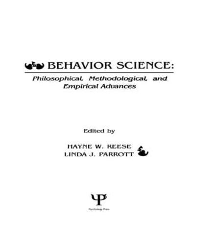 Behavior Science: Philosophical, Methodological, and Empirical Advances (Hardback)