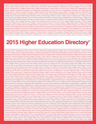 Higher Education Directory 2015 - Higher Education Directory (Paperback)