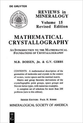 Mathematical Crystallography - Reviews in Mineralogy & Geochemistry 15 (Paperback)