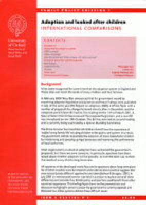 Adoption and Looked After Children: International Comparisions - Family Policy Briefing S. No. 1 (Paperback)